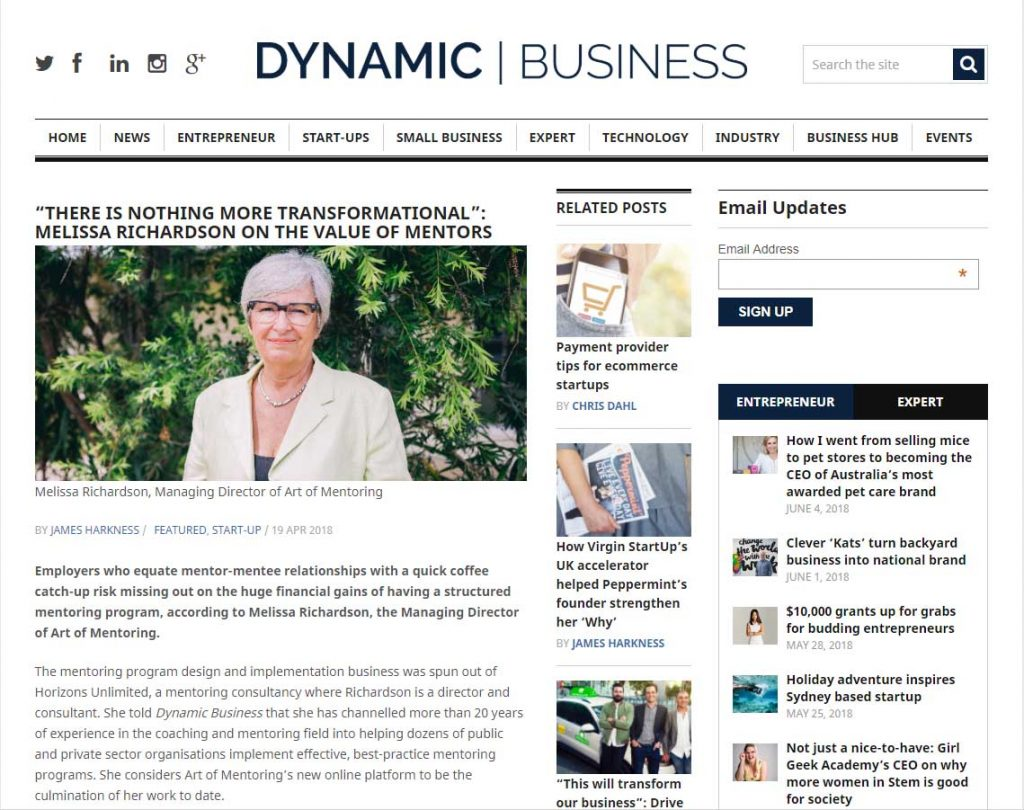 Screenshot of Dynamic Business article from 2018