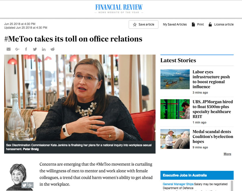 Screenshot of Financial Review article from 2018