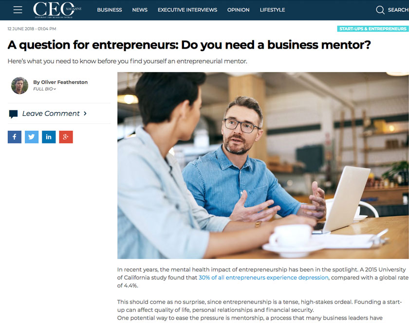 Screenshot of CEO Magazine article from 2018