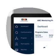 tablet showing mentoring software